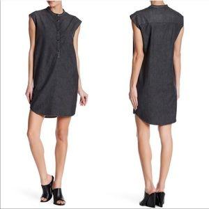 The Kooples Gray Denim Chambray Shift Dress Sz Sm